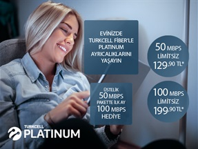 Turkcell Fiber 50Mbps&100Mbps Platin Paketler